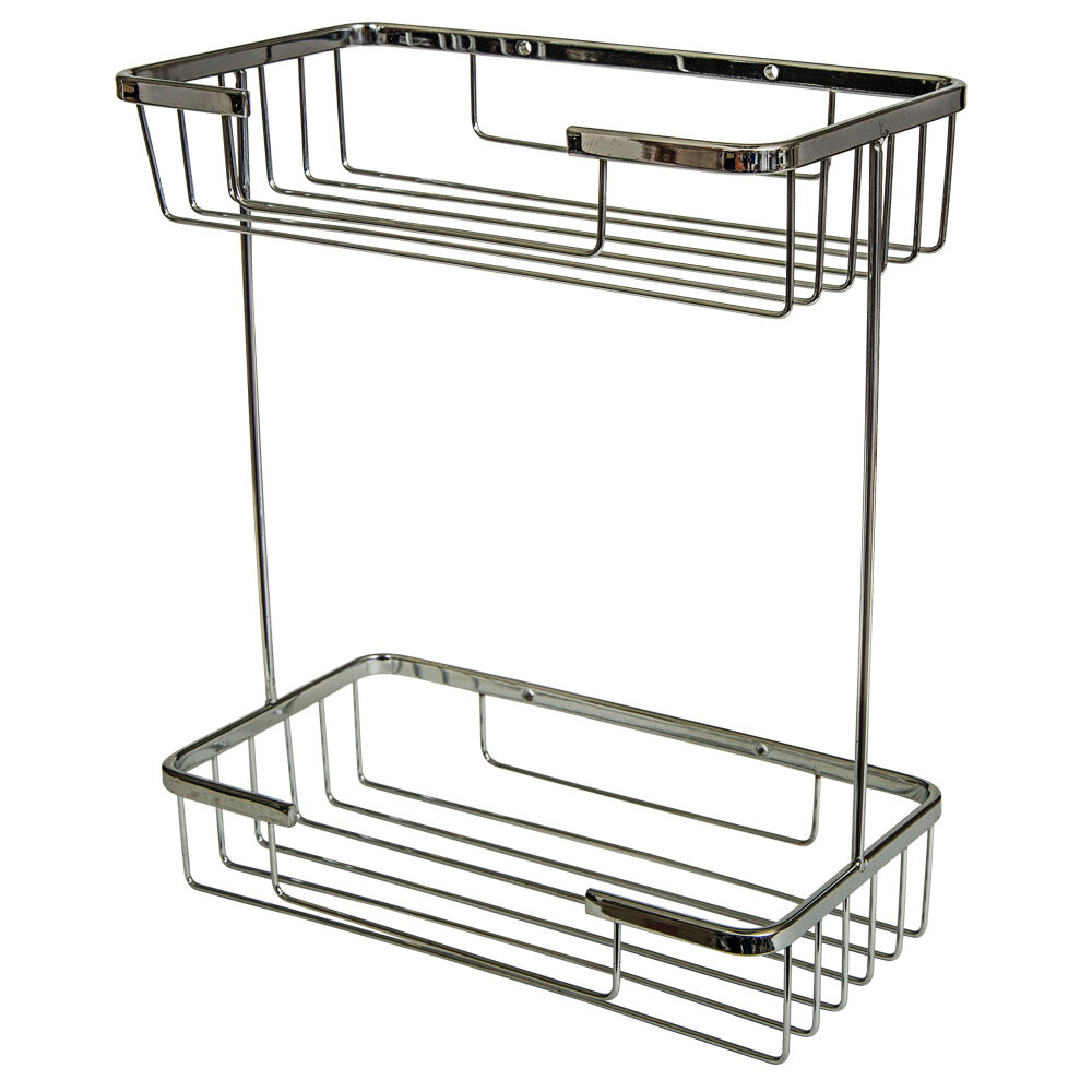 Two tier soap shower basket bathroom chrome wire work for Bathroom accessories baskets