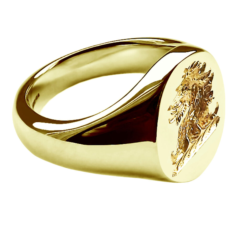 18ct 750 yellow gold family crest signet ring 16x13mm new ebay. Black Bedroom Furniture Sets. Home Design Ideas