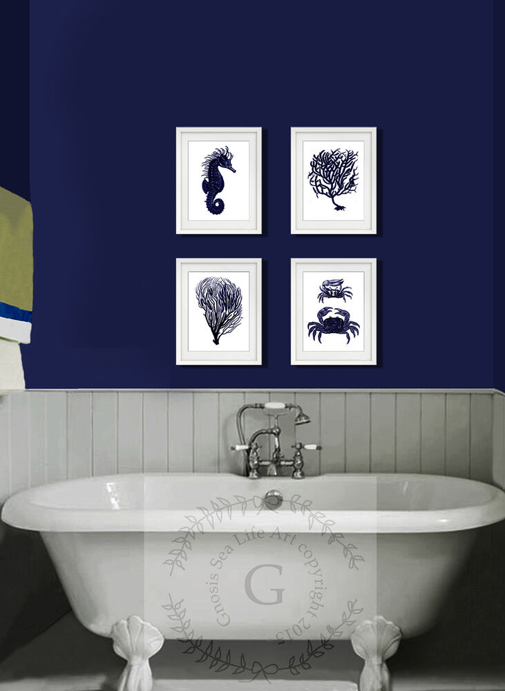 Navy blue white beach decor bathroom wall hanging set of 4 for Paintings for bathroom decoration