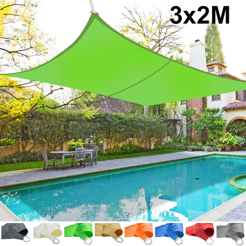 3m x 2m sun shade sail garden patio awning canopy screen 98 uv block new ebay. Black Bedroom Furniture Sets. Home Design Ideas