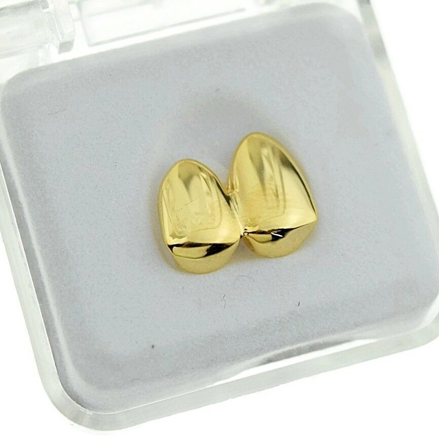 Double Cap 14k Gold Plated Grillz Canine Plain Two Teeth