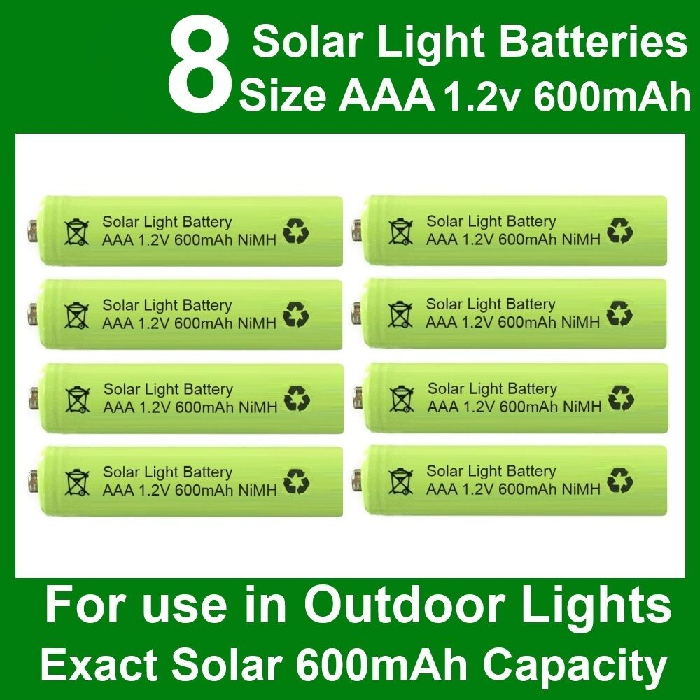 8 X Aaa 1 2v 600mah Nimh Rechargeable Batteries For Garden Solar Lights Nicd Ebay