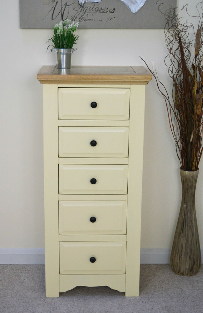 Salisbury painted wood oak tall narrow chest of
