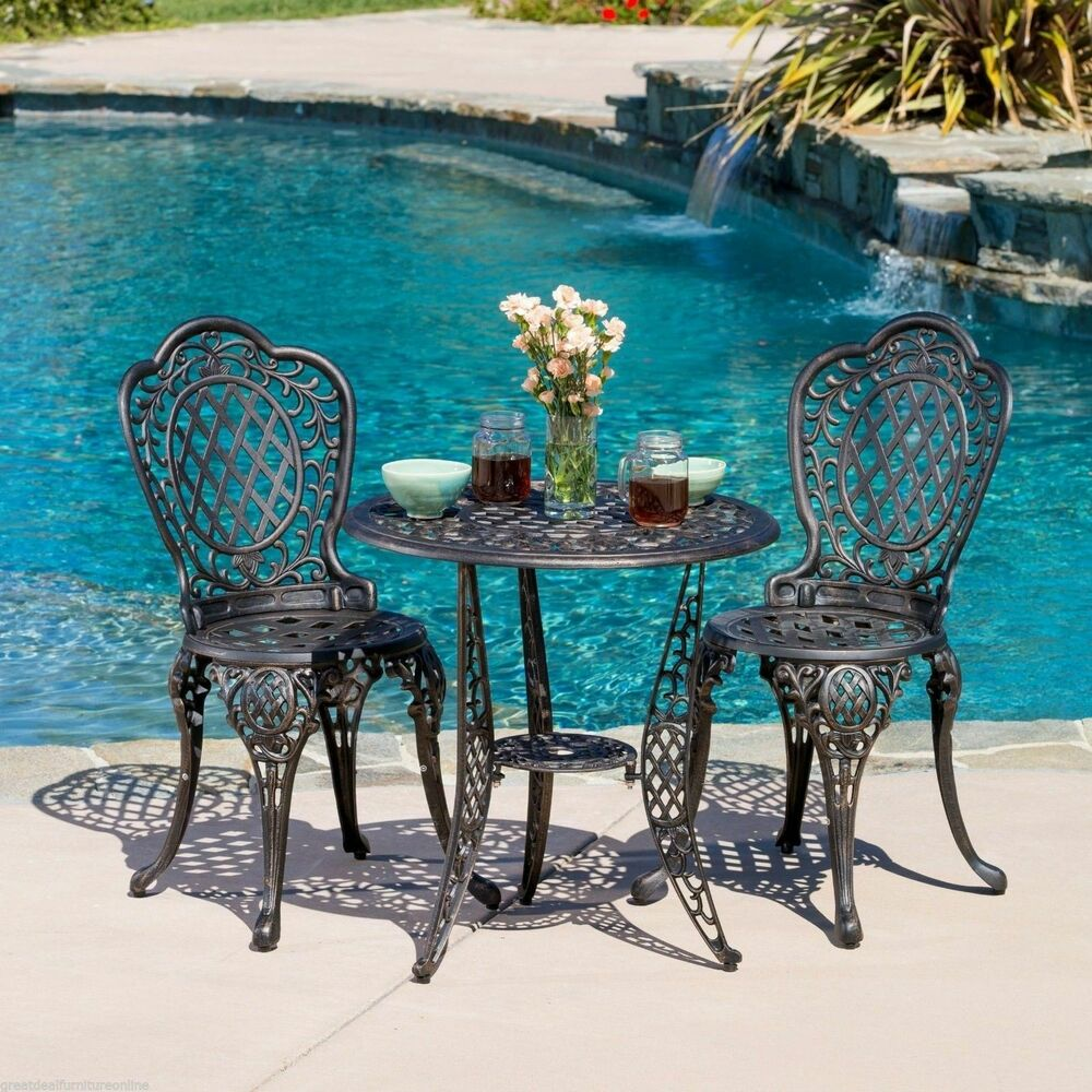 Outdoor Patio Furniture 3pcs Cast Aluminum Bistro Set In