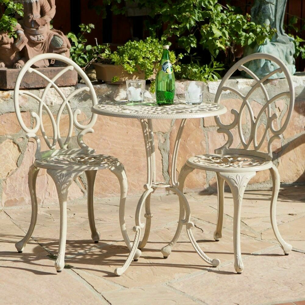 Outdoor patio furniture 3pc elegant design sand finish for Small metal patio set