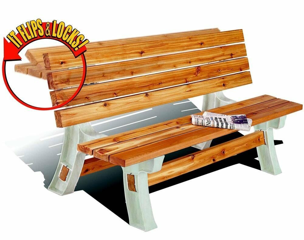 Flip Top Bench Picnic Table Convertable Outdoor Furniture Patio Garden Bench Ebay