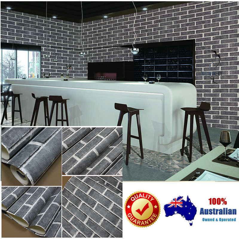 10m wallpaper 3d brick stone natural colour slate outdoor for Home wallpaper ebay