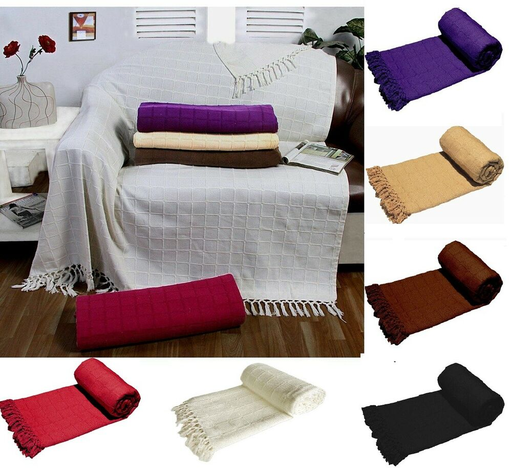 Covering Accent Chair With Throw: Batten Woven 100% Cotton Sofa Throw Cover Bed Arm Chair