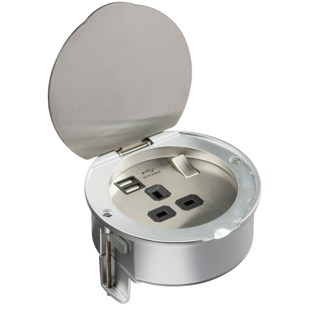 Recessed Desk Top Socket 13a With Usb Charger Ports