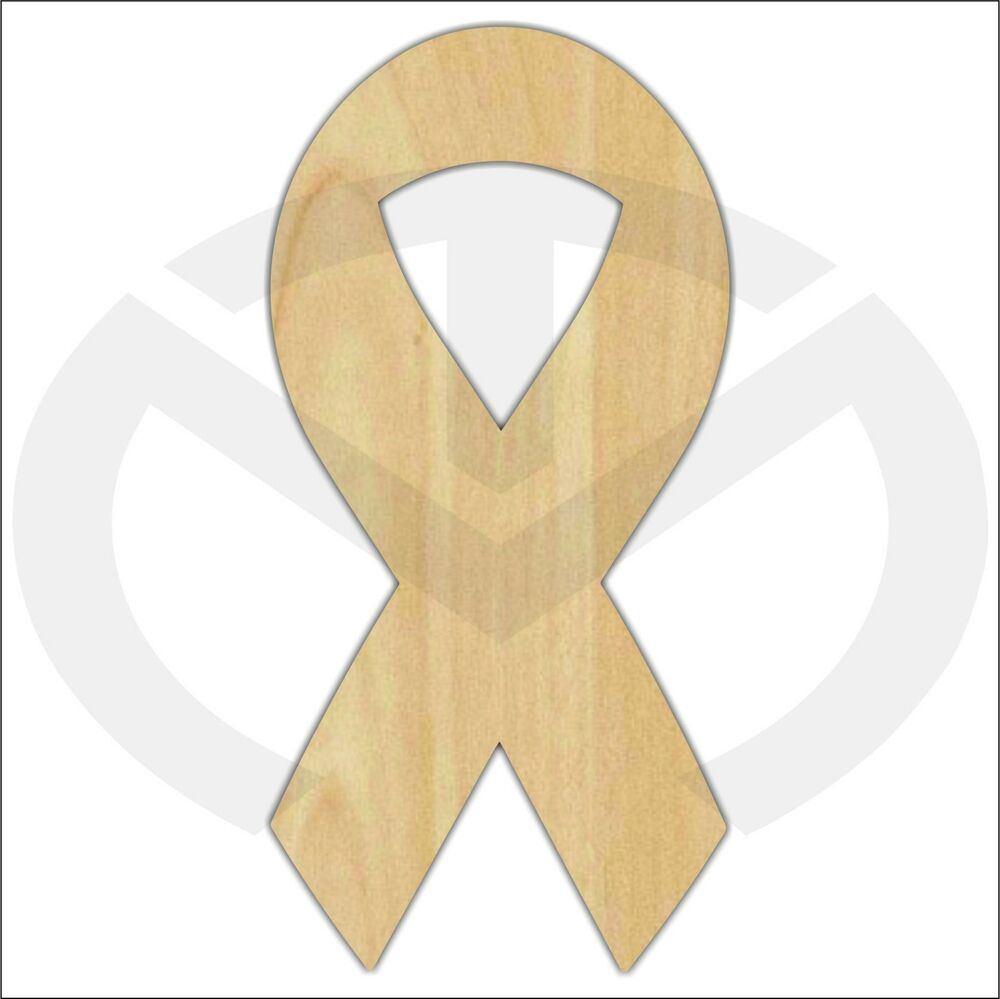 Unfinished Wood Awareness Ribbon Laser Cutout Wreath