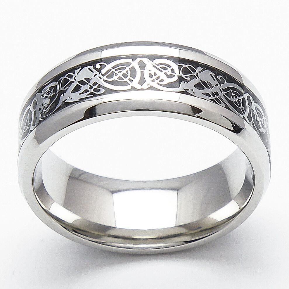 silver celtic dragon black inlay ring men 39 s wedding band ebay