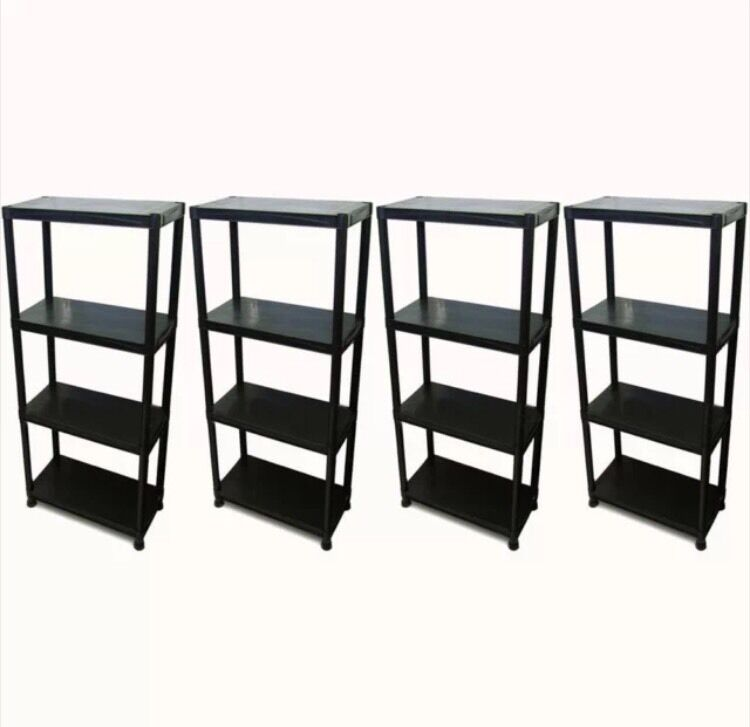 4 Tier X 4 Black Racking Shelving Shelves Plastic Rack