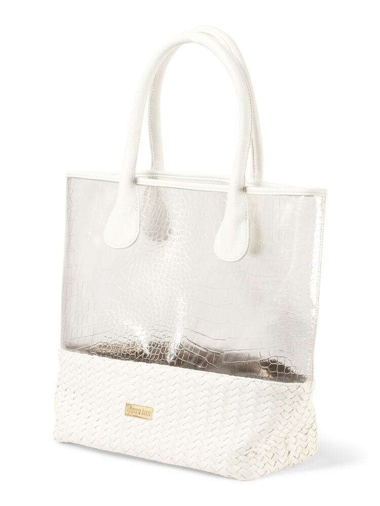 Deux Lux Handbag Mykonos Clear Tote Beach Bag In White Or