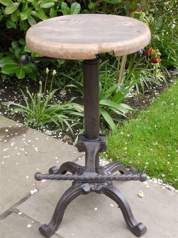 Vintage Industrial Bar Stool Reclaimed Oak Seat Cast Iron
