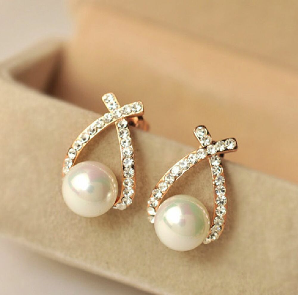 1 pair new fashion women lady elegant crystal rhinestone