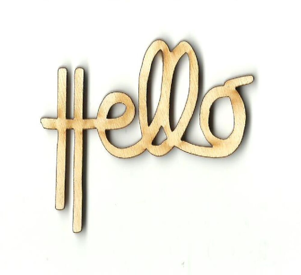 Hello word unfinished wood shape craft supply laser cut for Wholesale wood craft cutouts