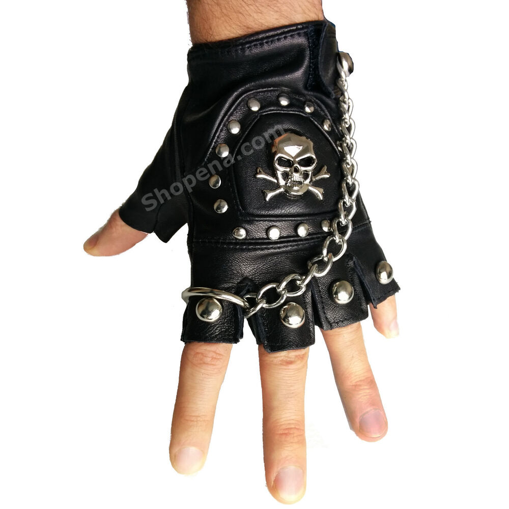 Fingerless Skull PU Leather Motorcycle Biker Gloves with ...