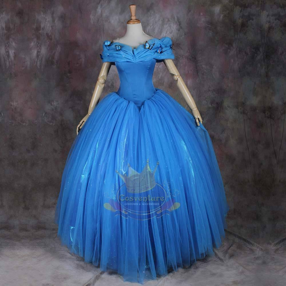 Cinderella 2015 Costumes Girls Dresses Shoes Jewelry: Cinderella Dress Ball Gown Costume 2015 Movie Custom Made