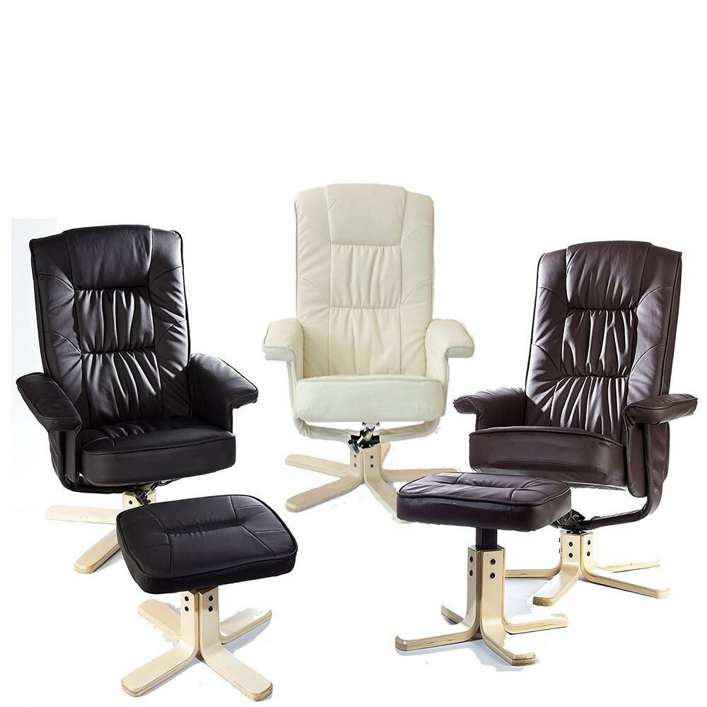 leather swivel armchair lounger with footstool reclining chair ebay