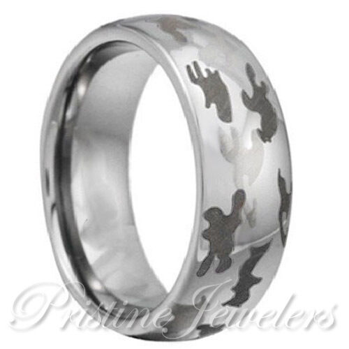 Tungsten mens army camouflage ring black silver snow camo for Camo mens wedding rings