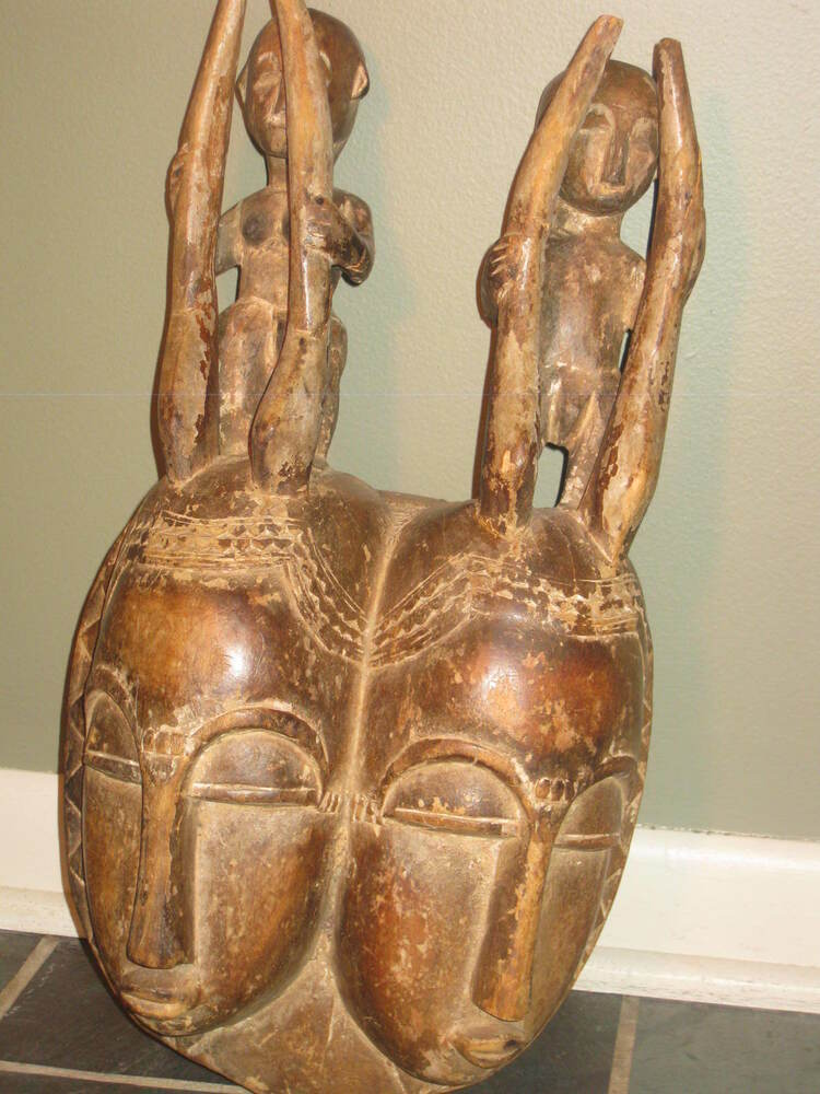 Carved wood african tribal faces w horns primitive dual