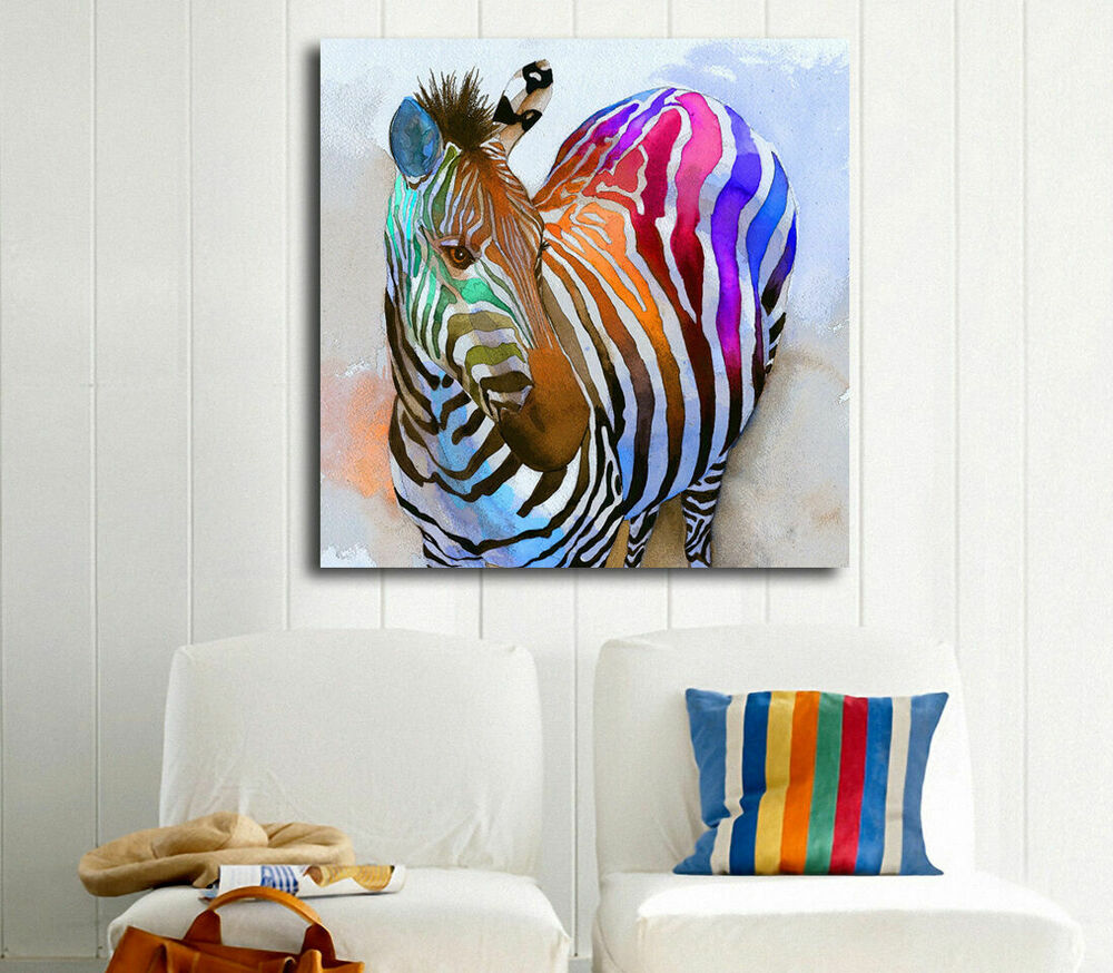 abstract colour zebra stretched canvas print framed kids wall art decor painting ebay. Black Bedroom Furniture Sets. Home Design Ideas