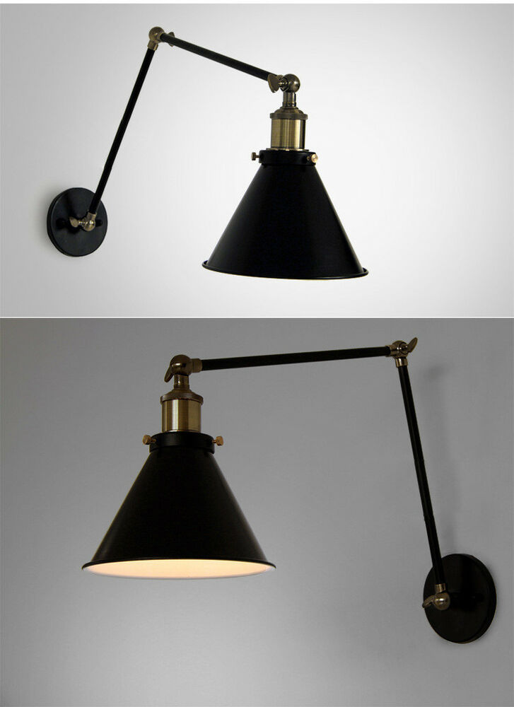 20TH C. Library Swing Arm Adjustable Wall Lamp E27 Light Sconce Lighting Fxiture eBay