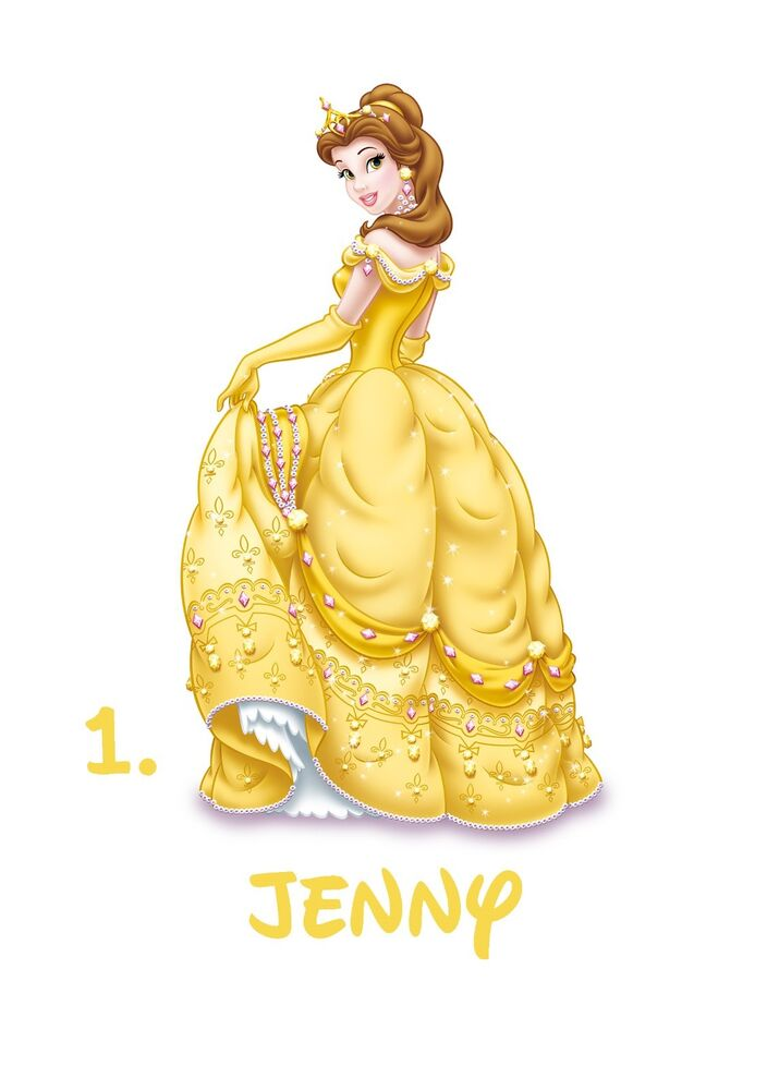 disney beauty belle princess personalized name iron on fabric transfer t shirt ebay. Black Bedroom Furniture Sets. Home Design Ideas