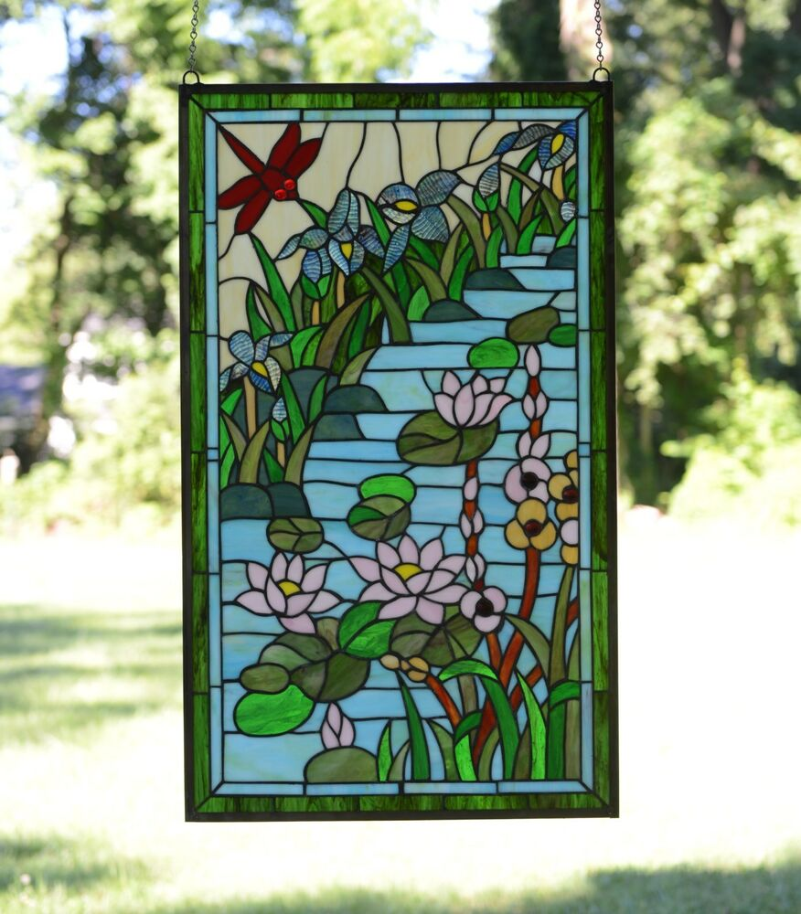 20 x 34 lg decorative tiffany style stained glass window for Decorative stained glass windows