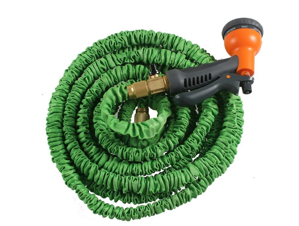 new flexible latex 75 feet expanding garden water hose w spray nozzle green ebay