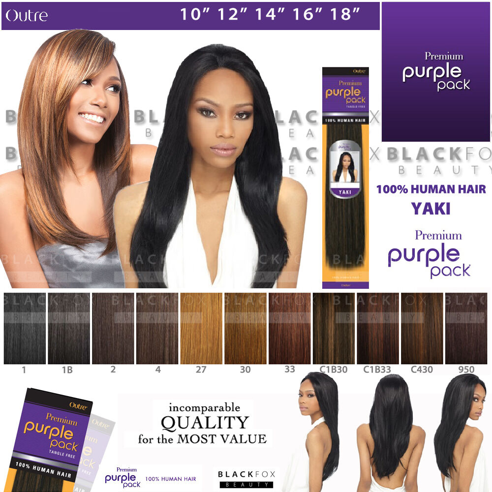 Outre Premium Purple Pack 100 Human Hair Yaki Weave 10
