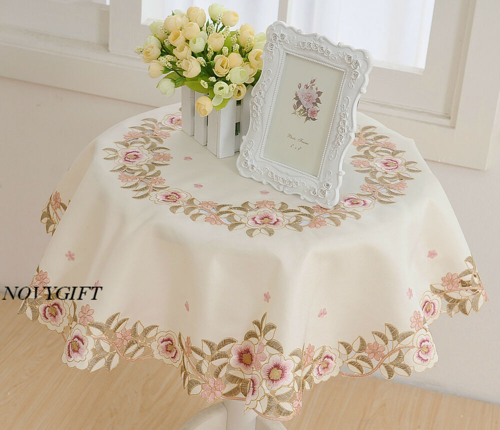 Square Cream Table Cloth Runner Topper 36 Quot Pink Rose