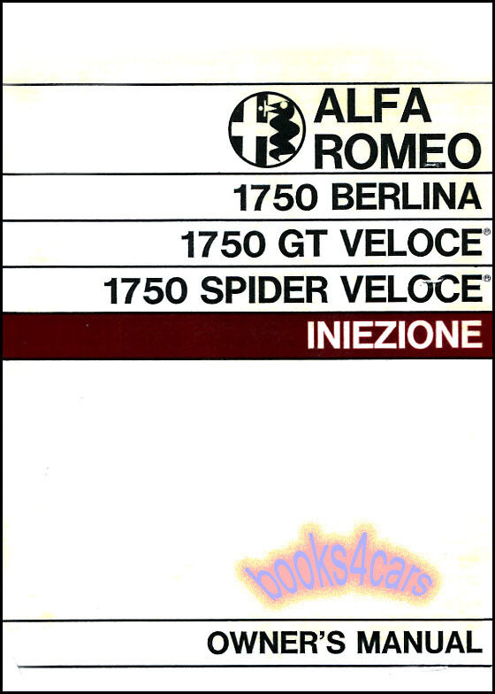 ALFA ROMEO OWNERS MANUAL HANDBOOK 1750 GUIDE GT SPIDER