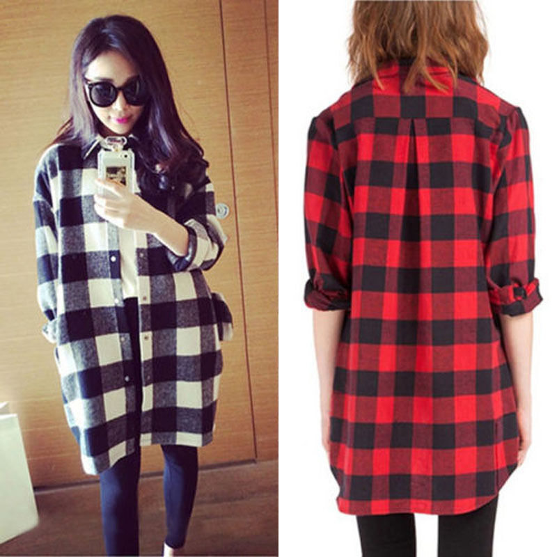 New oversized women scottish plaid check tartan shirt top Womens red tartan plaid shirt