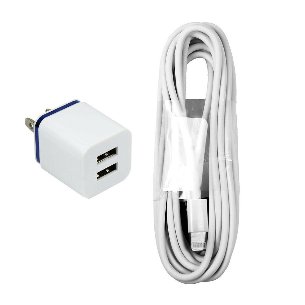 long iphone 5 charger 10 ft 8 pin cord with 10w fast dual port wall charger 6547