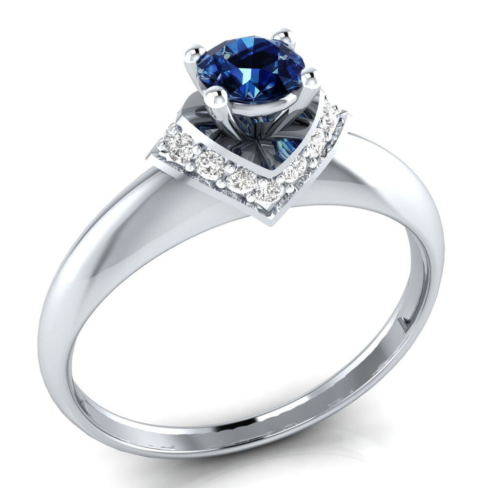 10k White Gold 0 35 ct Natural Blue Sapphire & Real Diamond Engagement Ri