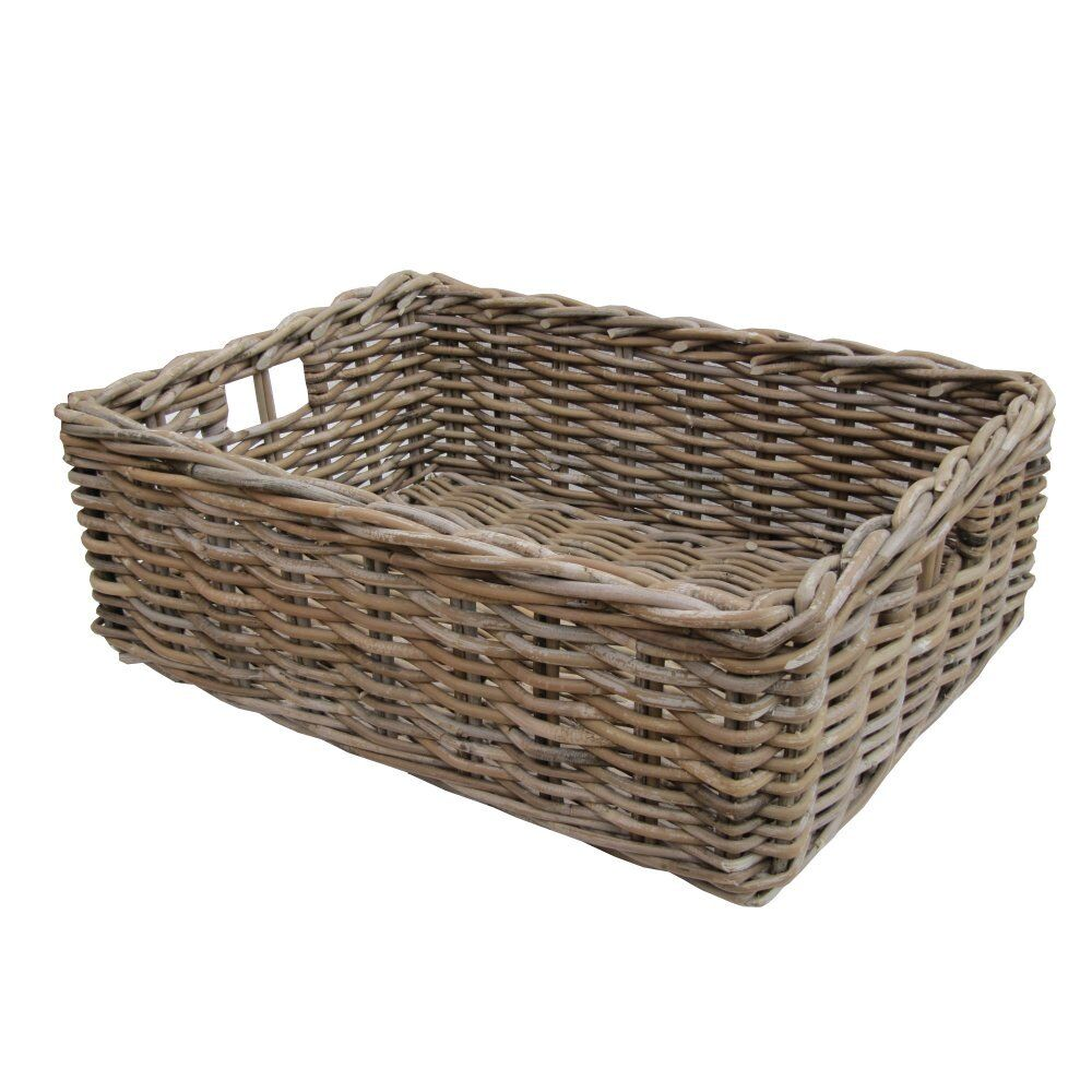Grey Wicker Basket Uk : Rectangular wicker grey buff rattan storage baskets