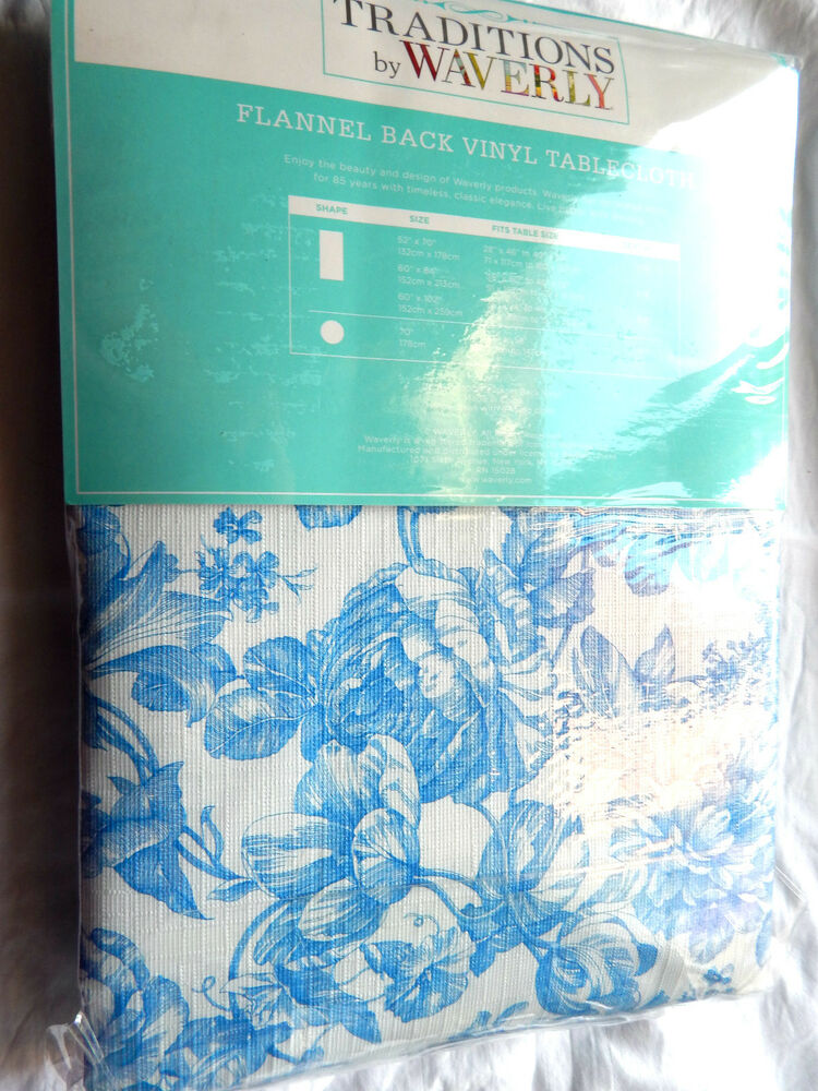 Waverly Flannel Back Vinyl Rectangle Tablecloth 60x84