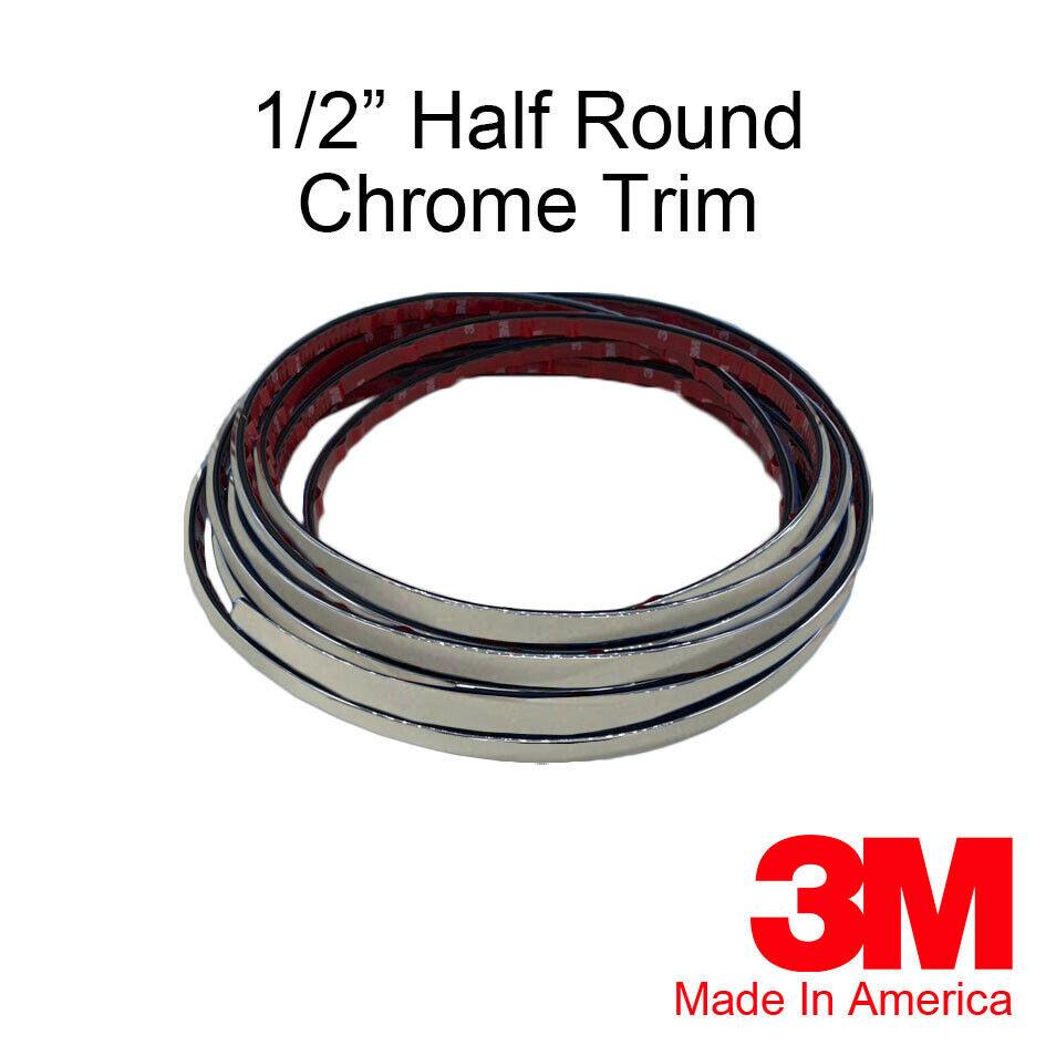 1 2 X 20 Ft Half Round Chrome Trim Accent Molding Universal 0 5 Wide 719392314892