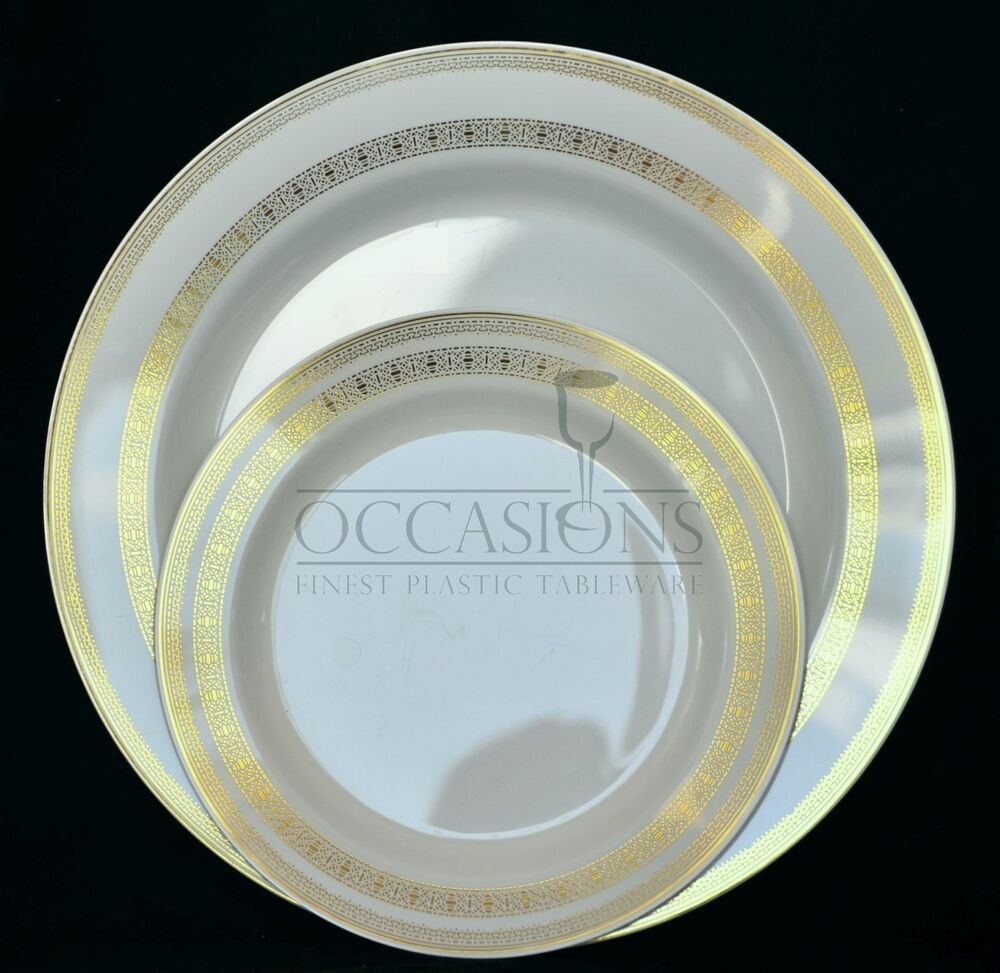 FRENCH COLLECTION BONE GOLD Wedding Disposable Plastic Plates Silve