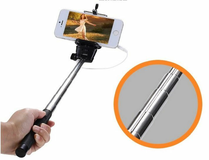 selfie stick with plug click cable 4 samsung iphone 6 most phones in the market ebay. Black Bedroom Furniture Sets. Home Design Ideas