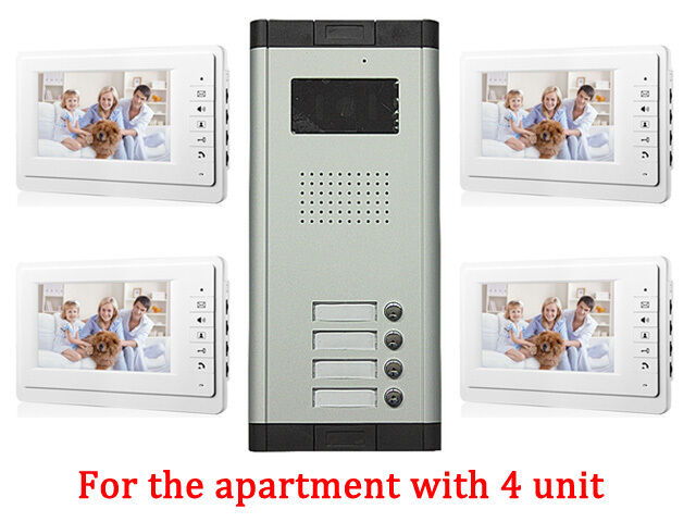 4 Units Apartment Intercom Entry System Wired 7 Monitor