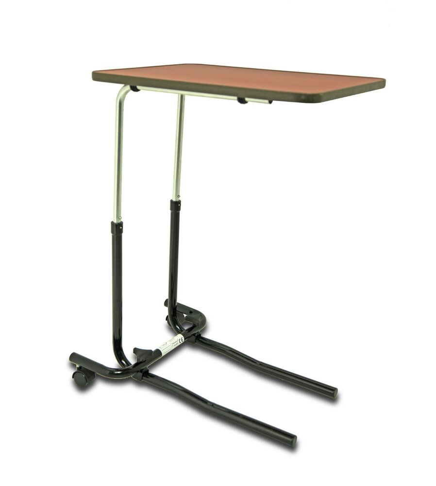 Height adjustable over chair bed table with wheels wood for Table bed chair
