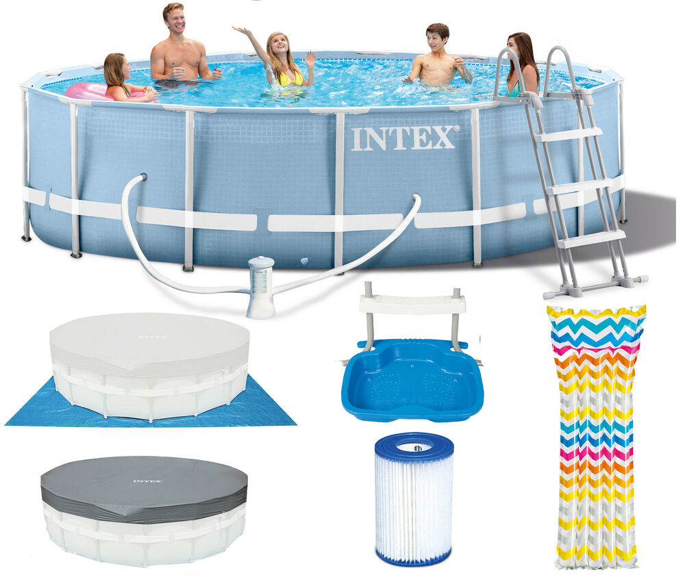 intex prism frame swimming pool schwimmbecken 457x107 cm komplett set 28734 ebay. Black Bedroom Furniture Sets. Home Design Ideas