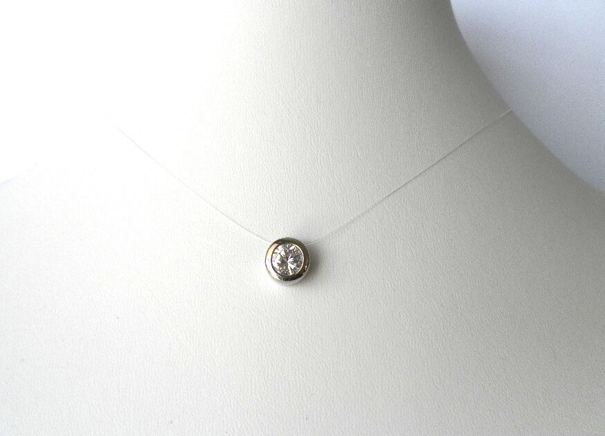 Solitaire Natural Zircon Floating Necklace Necklace