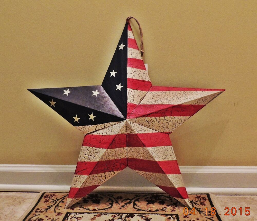 Primitive Americana Patriotic Barn Tin Star Country Rustic