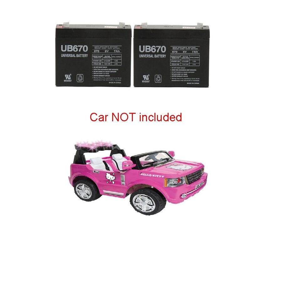 2 Replacement Batteries For 12v Hello Kitty Suv Ride On