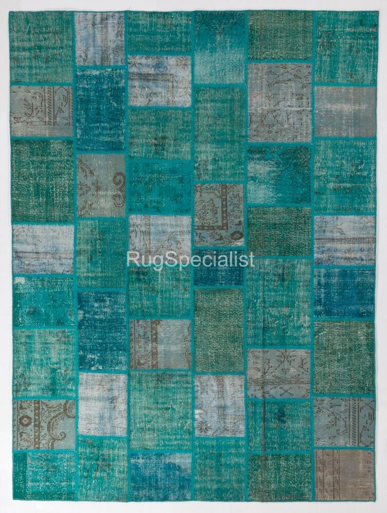 Aqua Blue Turquoise Patchwork Rug Handmade From Overdyed