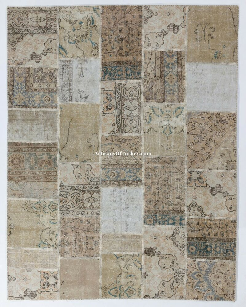 Neutral Beige, Cream, Taupe PATCHWORK Rug, Handmade From