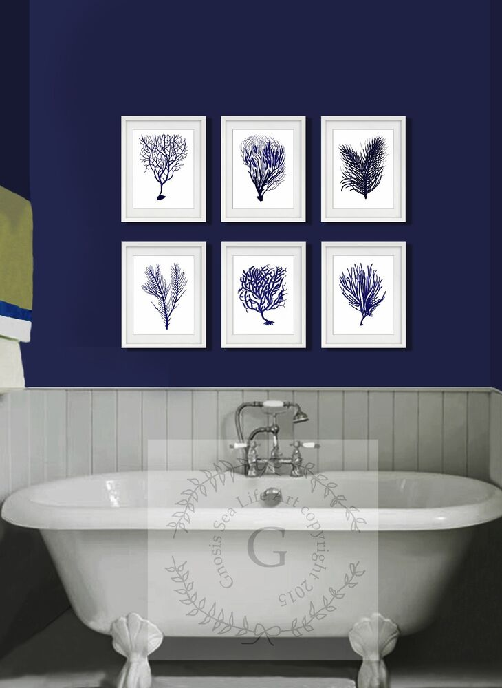 navy blue home decor wall art prints set of 6 sea coral beach decor ebay. Black Bedroom Furniture Sets. Home Design Ideas